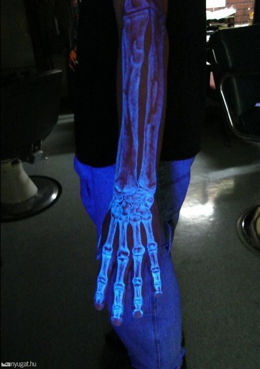 White Ink Skeleton Arm Tattoo pertaining to measurements 901 X 1280
