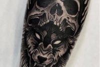 Wolf And Skull Tattoo On Forearm throughout dimensions 907 X 1421