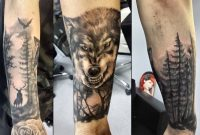 Wolf In Forest Tattoo On Arm Sleeve Justyna Kurzelowska1 within sizing 1600 X 1074