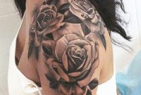 Womens Rose Shoulder Tattoo Ideas In Black And White Realistic Left regarding sizing 676 X 2048