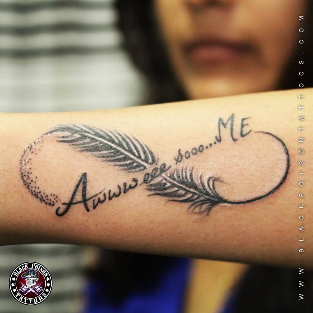 Wonderful Feather And Infinity Symbol Tattoo On Arm Sleeve For Girls for sizing 1000 X 1000
