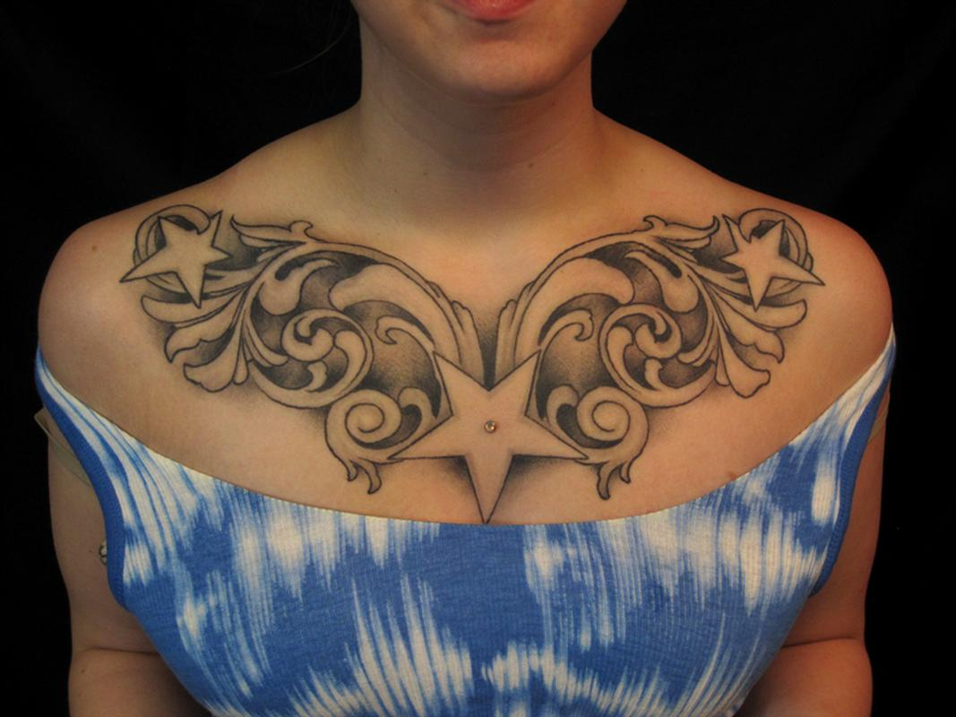 20 Glamorous Chest Tattoos For Women Tattoo Collections throughout measurements 1067 X 800