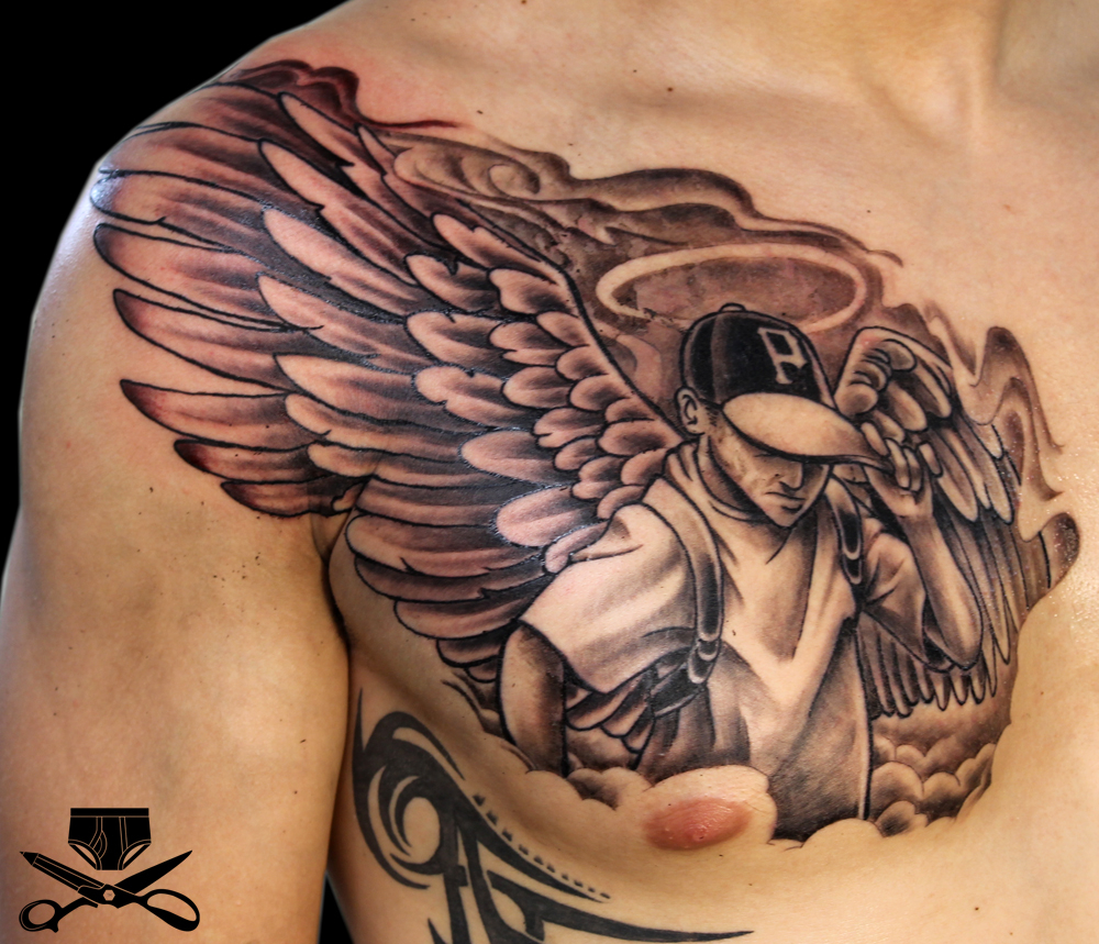 22 Inspiring Angel Chest Tattoo with proportions 1000 X 859