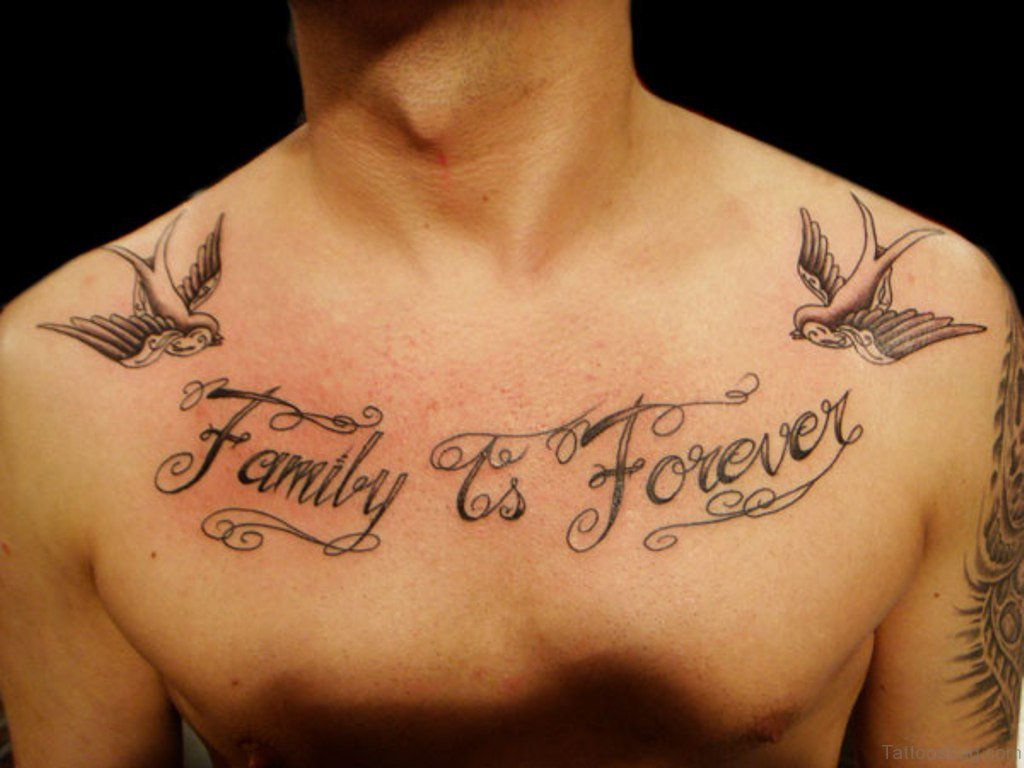 27 Family Wording Tattoos On Chest pertaining to dimensions 1024 X 768