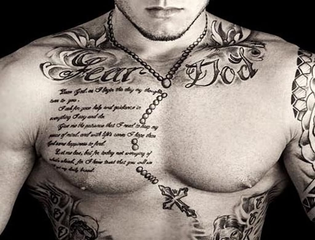 35 Rosary Tattoos On Chest within proportions 1024 X 780