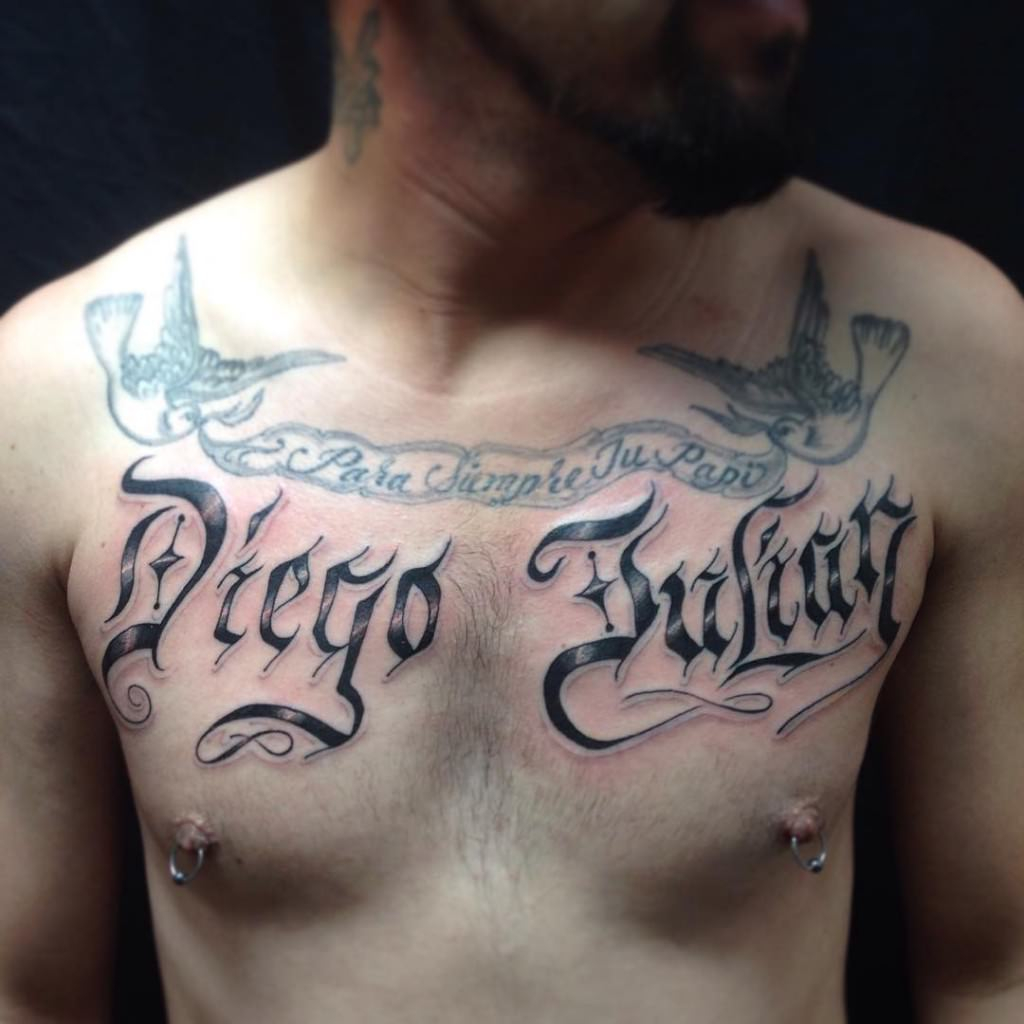 38 Name Tattoos On Chest inside measurements 1024 X 1024