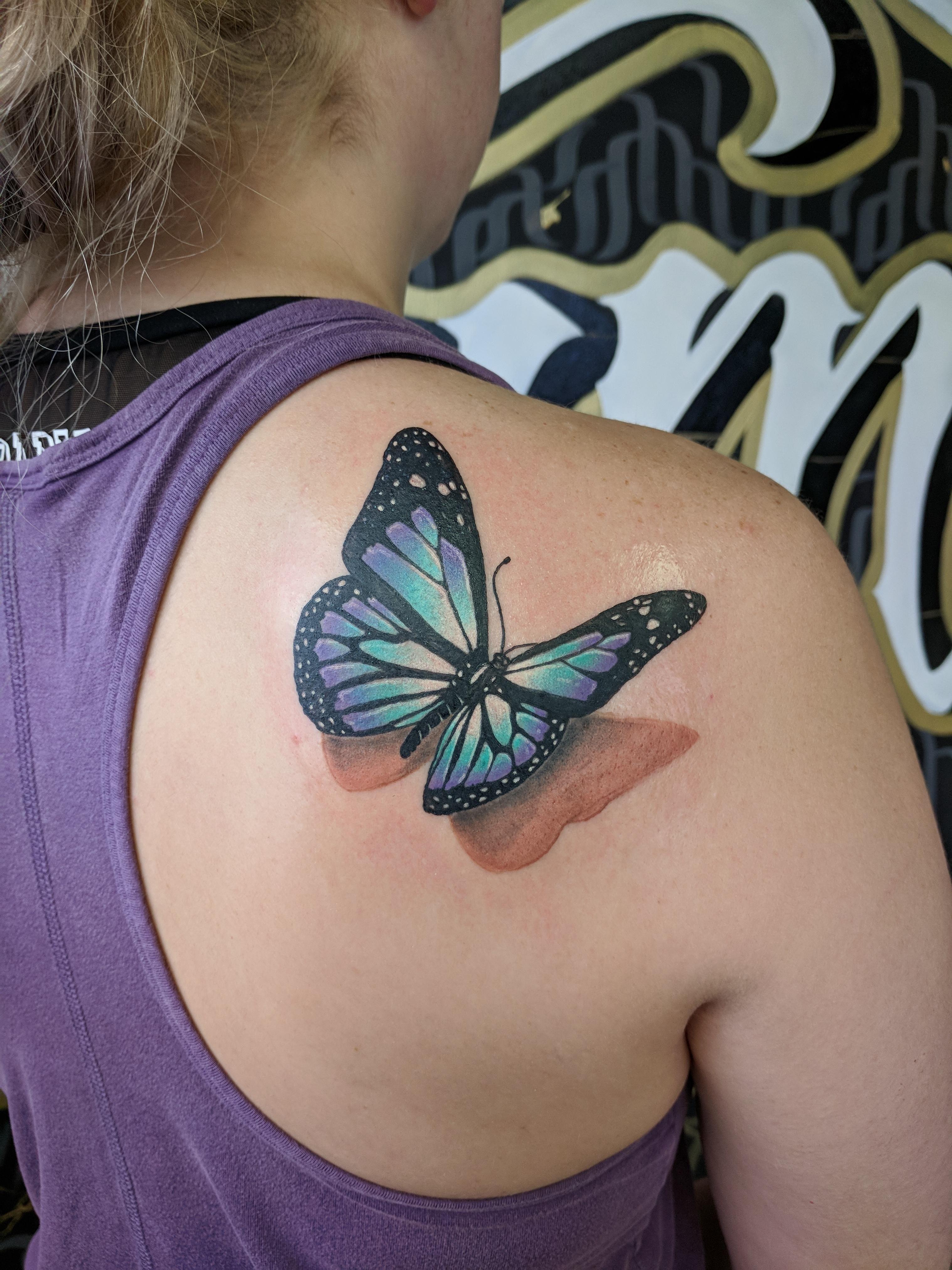 3d Butterfly Done Juan At Virginia Class Tattoo Manassas Va with regard to sizing 3036 X 4048