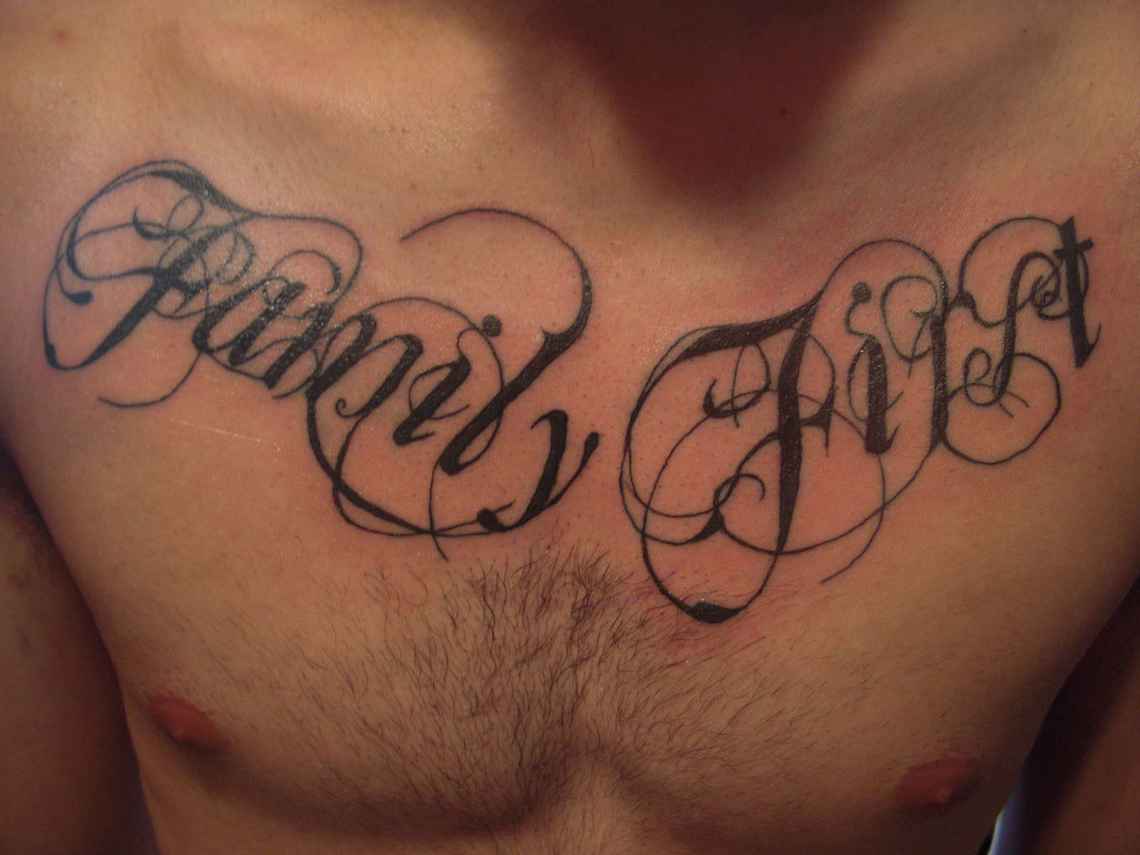 3d Family First Handsome Chest Tattoo Design Idea throughout proportions 1024 X 768