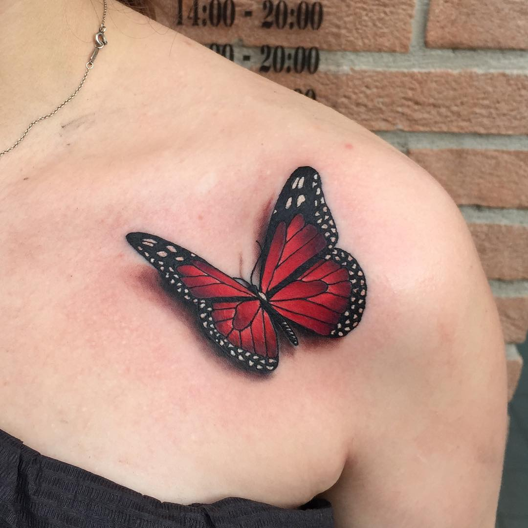 3d Monarch Tattoo On Collar Bone inside size 1080 X 1080