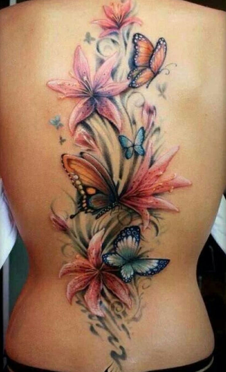 43 Lily With Butterfly Tattoos Ideas in sizing 736 X 1210