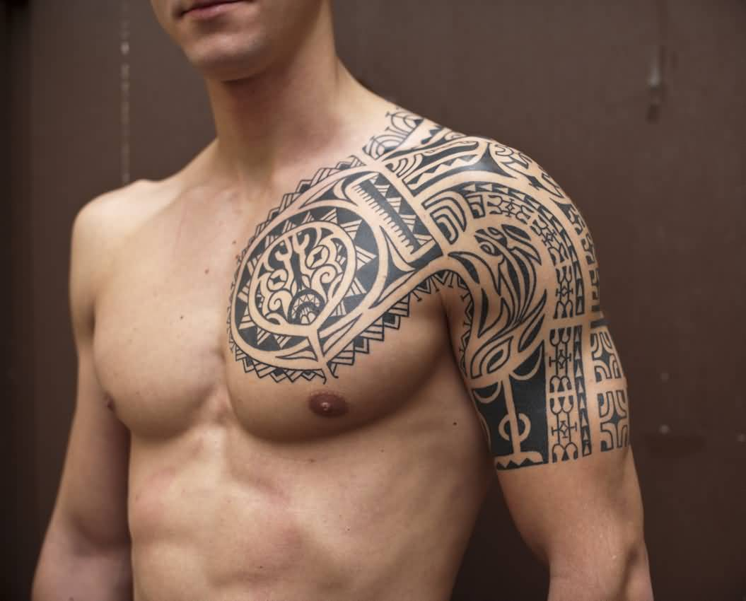 45 Tribal Chest Tattoos For Men within proportions 1055 X 850