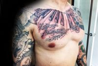 51 Amazing Music Tattoos On Chest for dimensions 1024 X 768
