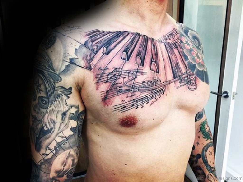 51 Amazing Music Tattoos On Chest regarding proportions 1024 X 768