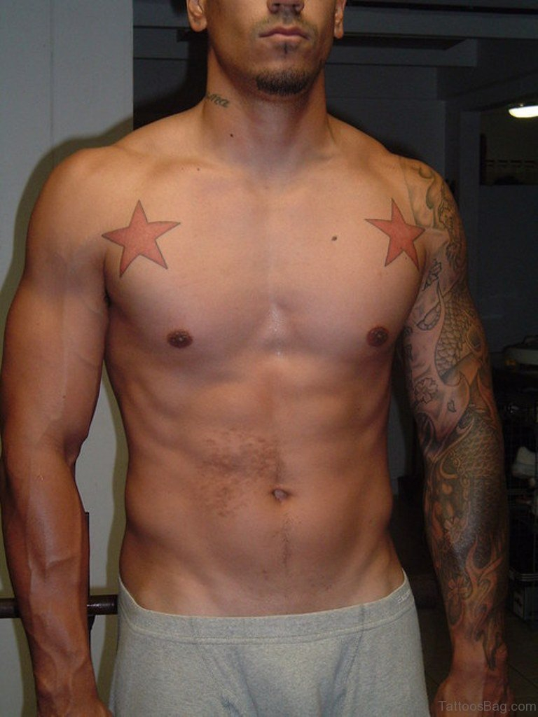 52 Gorgeous Stars Tattoos For Chest for sizing 768 X 1024