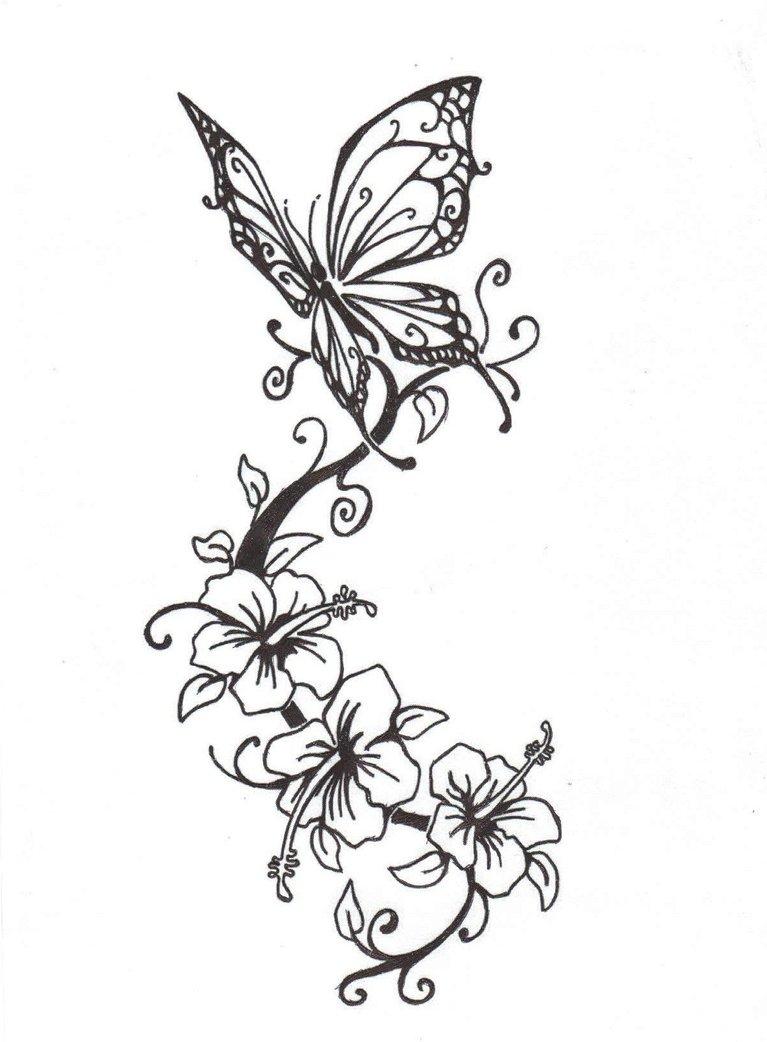 55 Butterfly Flower Tattoos regarding measurements 767 X 1042