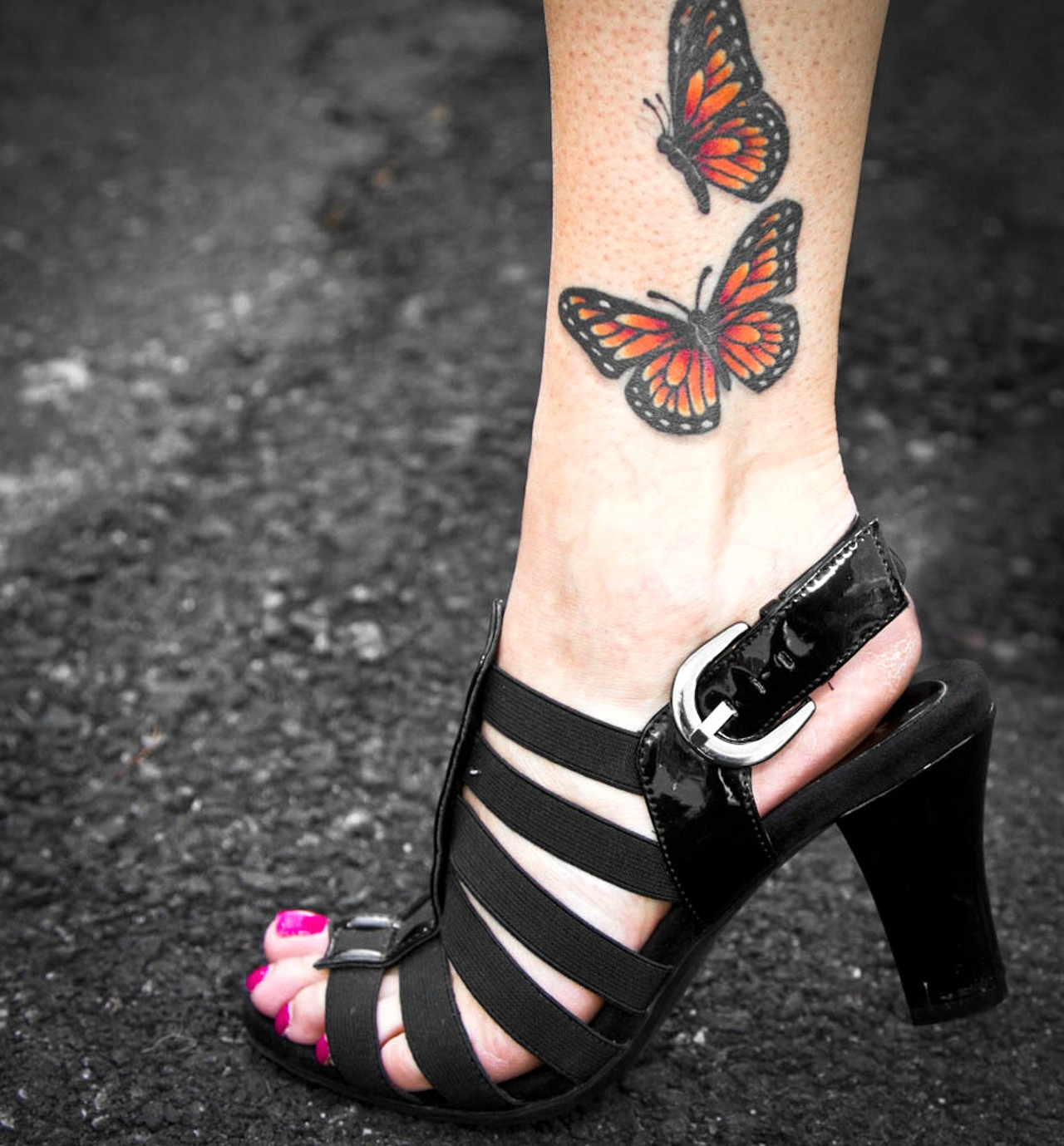 67 Butterfly Tattoos On Ankle with regard to proportions 1280 X 1379
