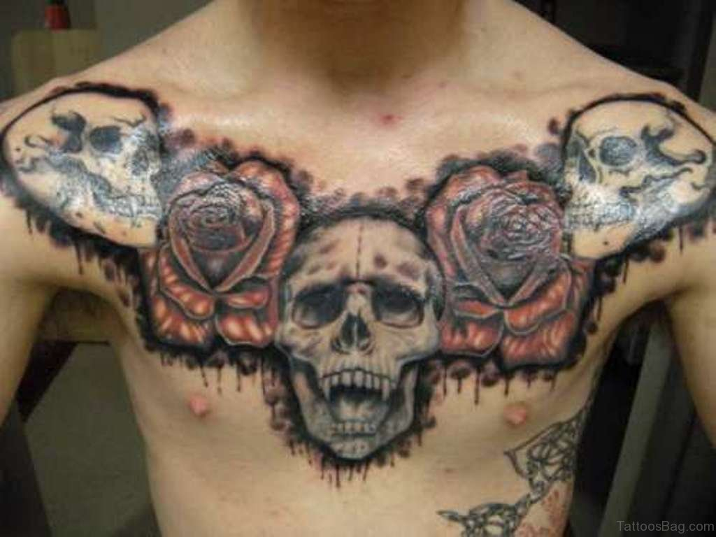 70 Stunning Skull Tattoos On Chest within size 1024 X 768