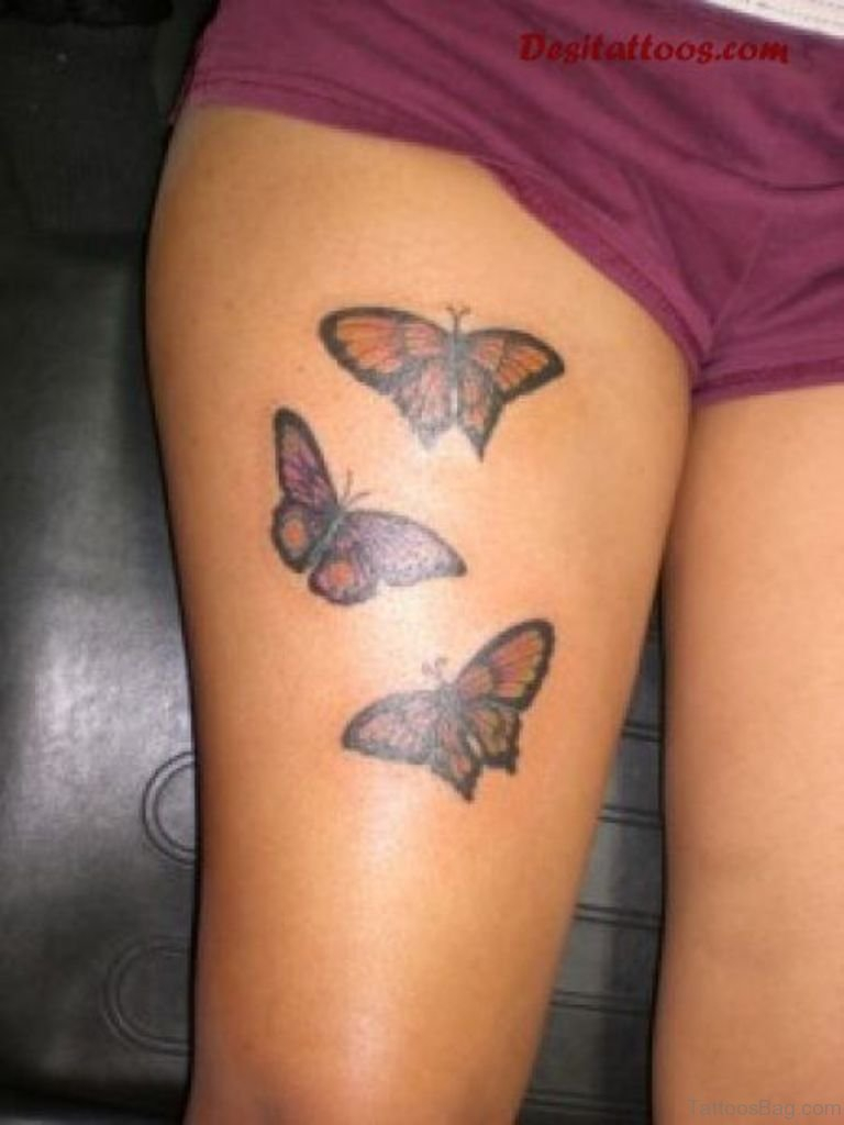 71 Pretty Butterfly Tattoos On Thigh throughout size 768 X 1024