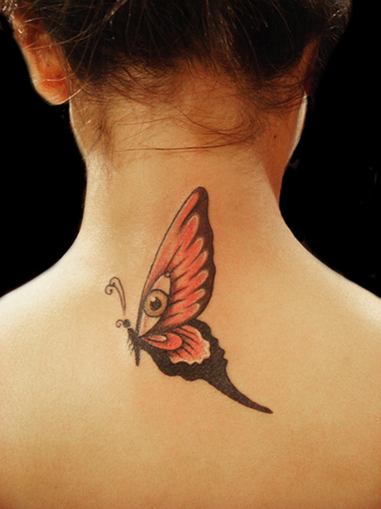 71 Sweet Butterfly Neck Tattoos for size 768 X 1024