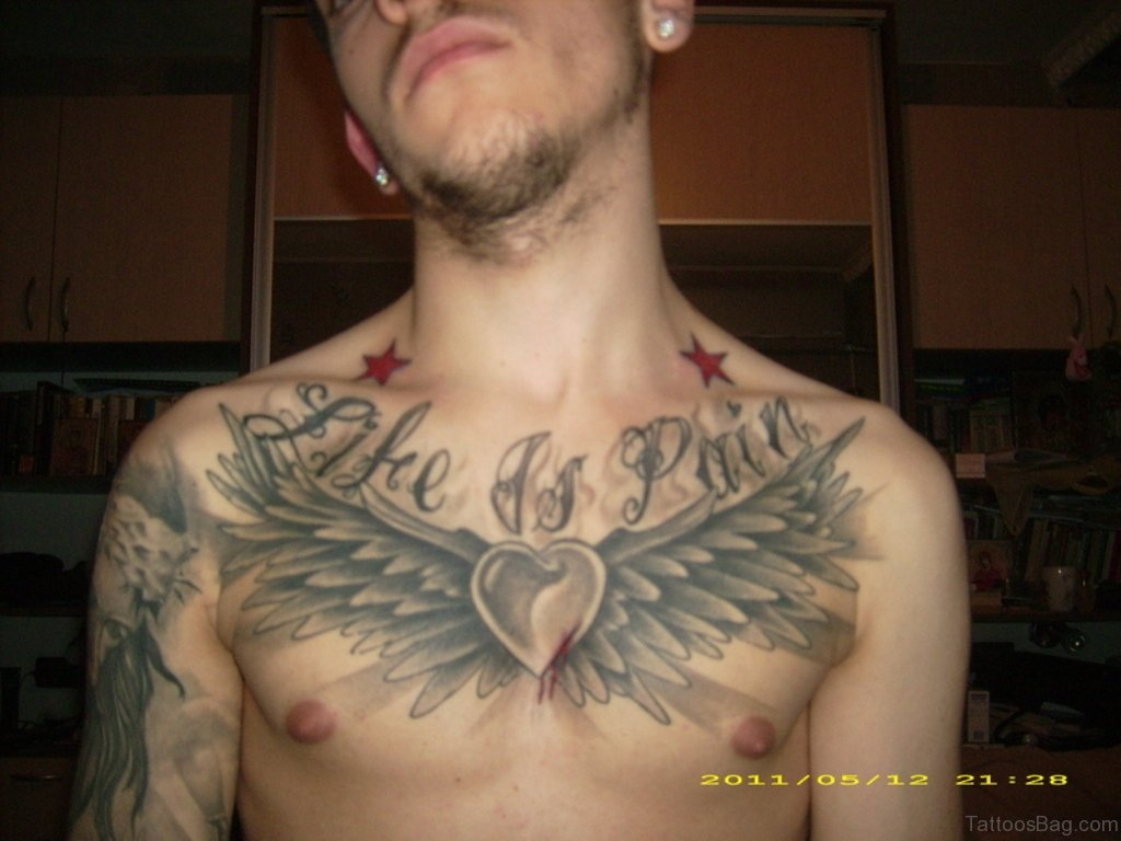 81 Alluring Wings Tattoo On Chest throughout dimensions 1024 X 768