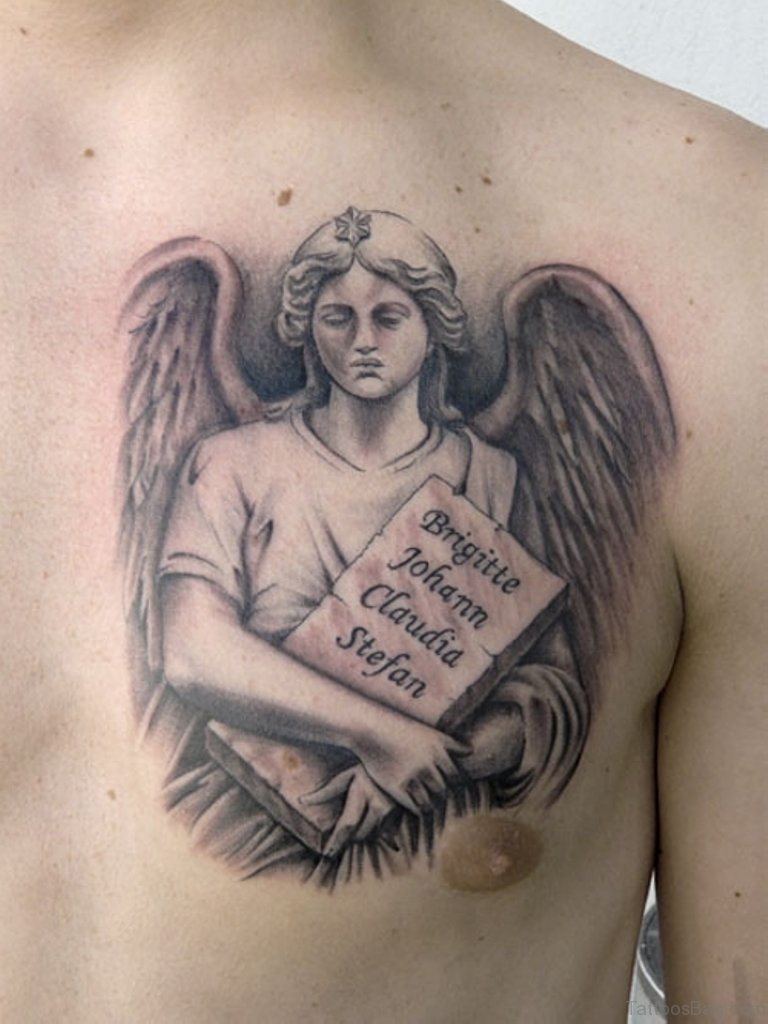 86 Graceful Angel Tattoos For Chest intended for dimensions 768 X 1024