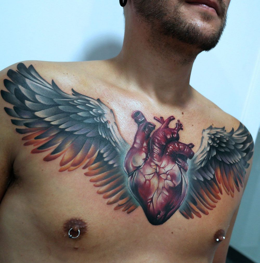 Anatomical Heart Wings Chest Tattoos Chest Tattoo Cool for dimensions 1000 X 1012