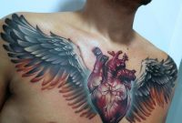 Anatomical Heart Wings Chest Tattoos Chest Tattoo Cool regarding dimensions 1000 X 1012
