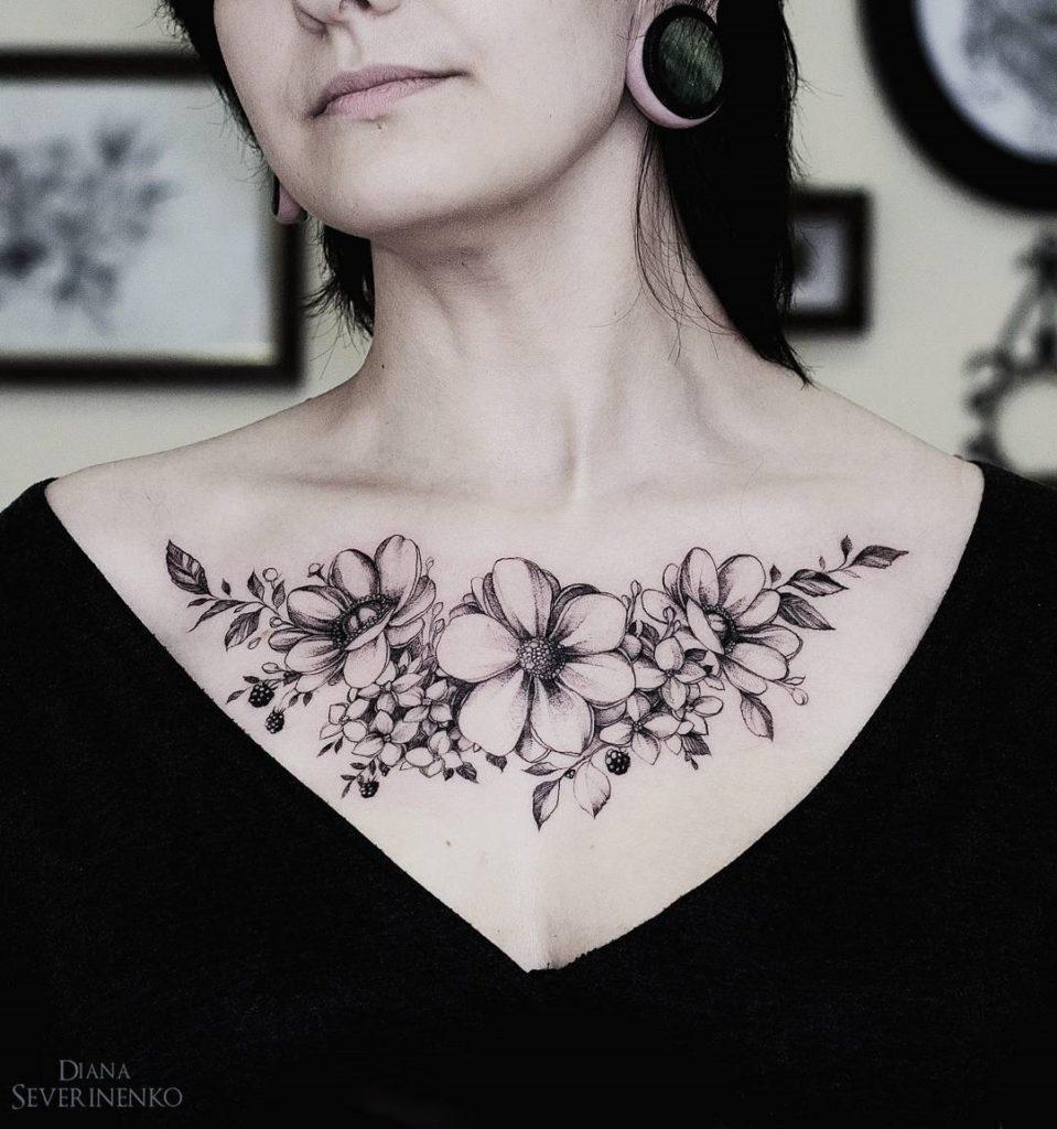 Anemones Hydrangea Chest Best Tattoo Design Ideas in measurements 959 X 1024