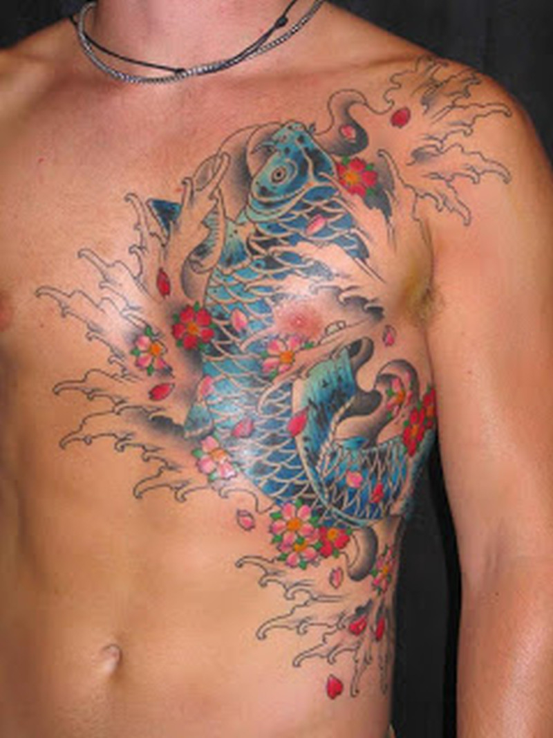 Asian Koi Fish Tattoo Design On Chest Tattoos Book 65000 pertaining to measurements 800 X 1067