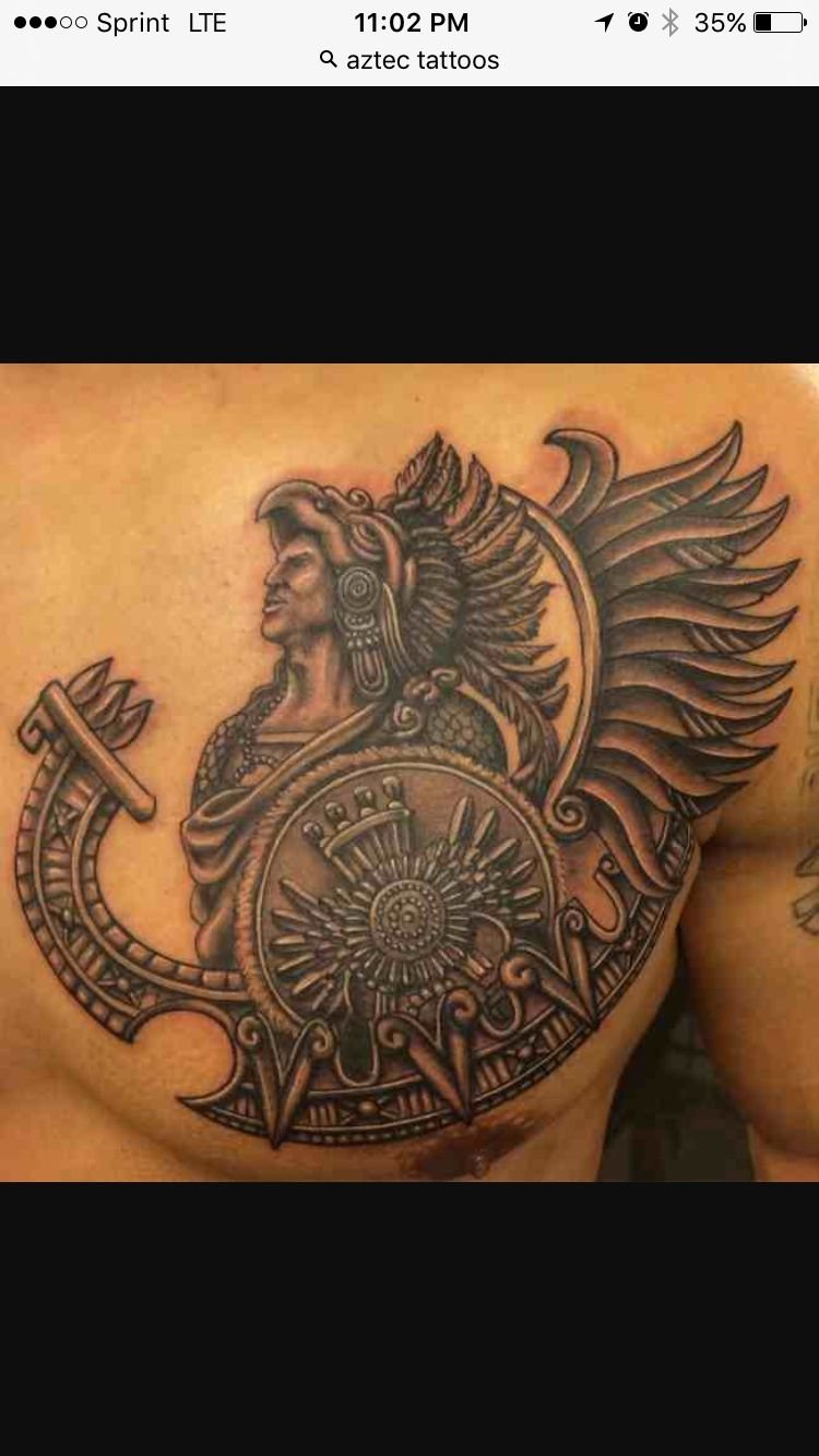 Aztec Warrior On Left Side Chest Tatoo Ideas Aztec Warrior with proportions 750 X 1334