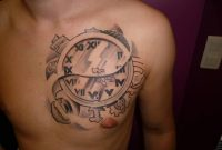 Beautiful Roman Numerals Clock Tattoo On Left Side Of Chest For Men in sizing 1067 X 800