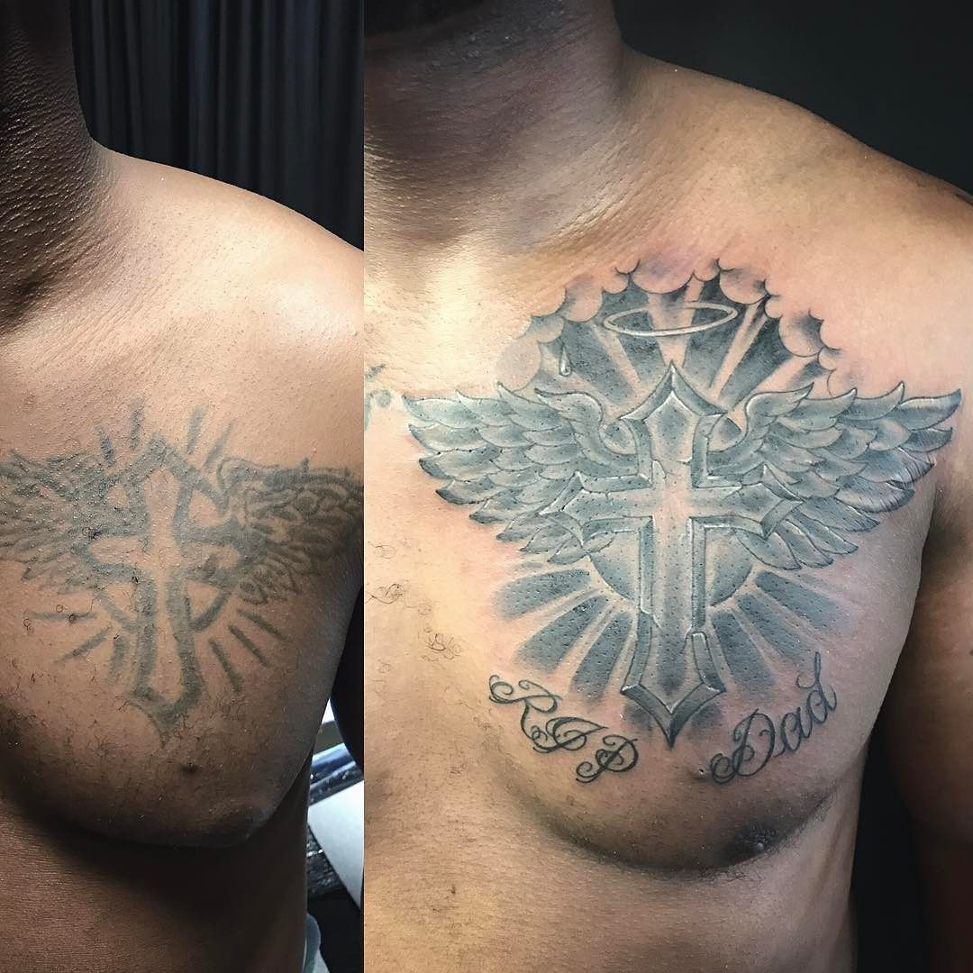 Before And After Chest Tattoo Recovery Fix Up Or Cover Up Cross regarding measurements 1080 X 1080