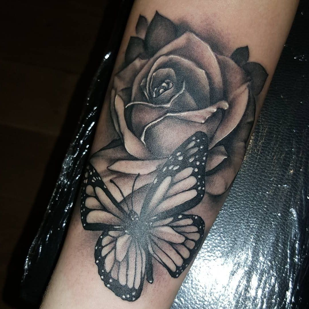 Black And Grey Butterfly Tattoo 43 Beautiful Forearm Rose Tattoos throughout sizing 1080 X 1080