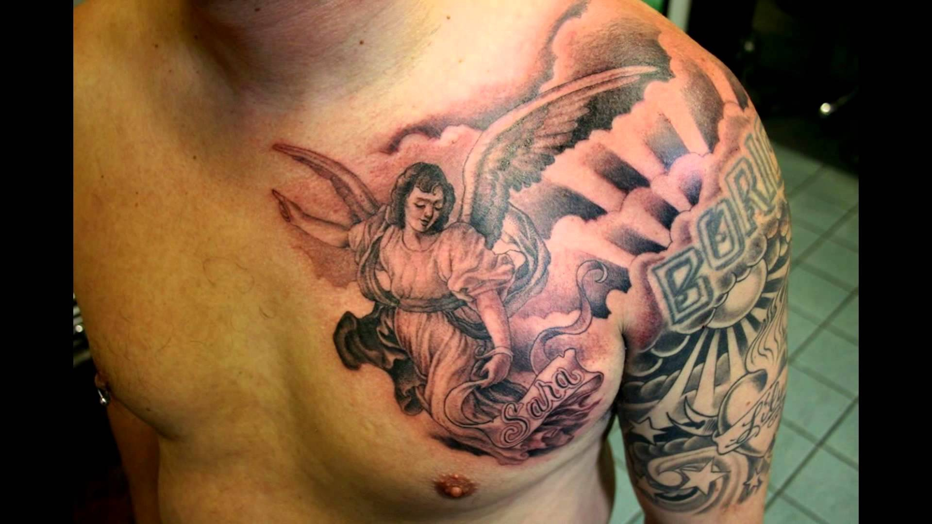 Black And Grey Ink Guardian Angel Tattoo On Chest For Men within measurements 1920 X 1080