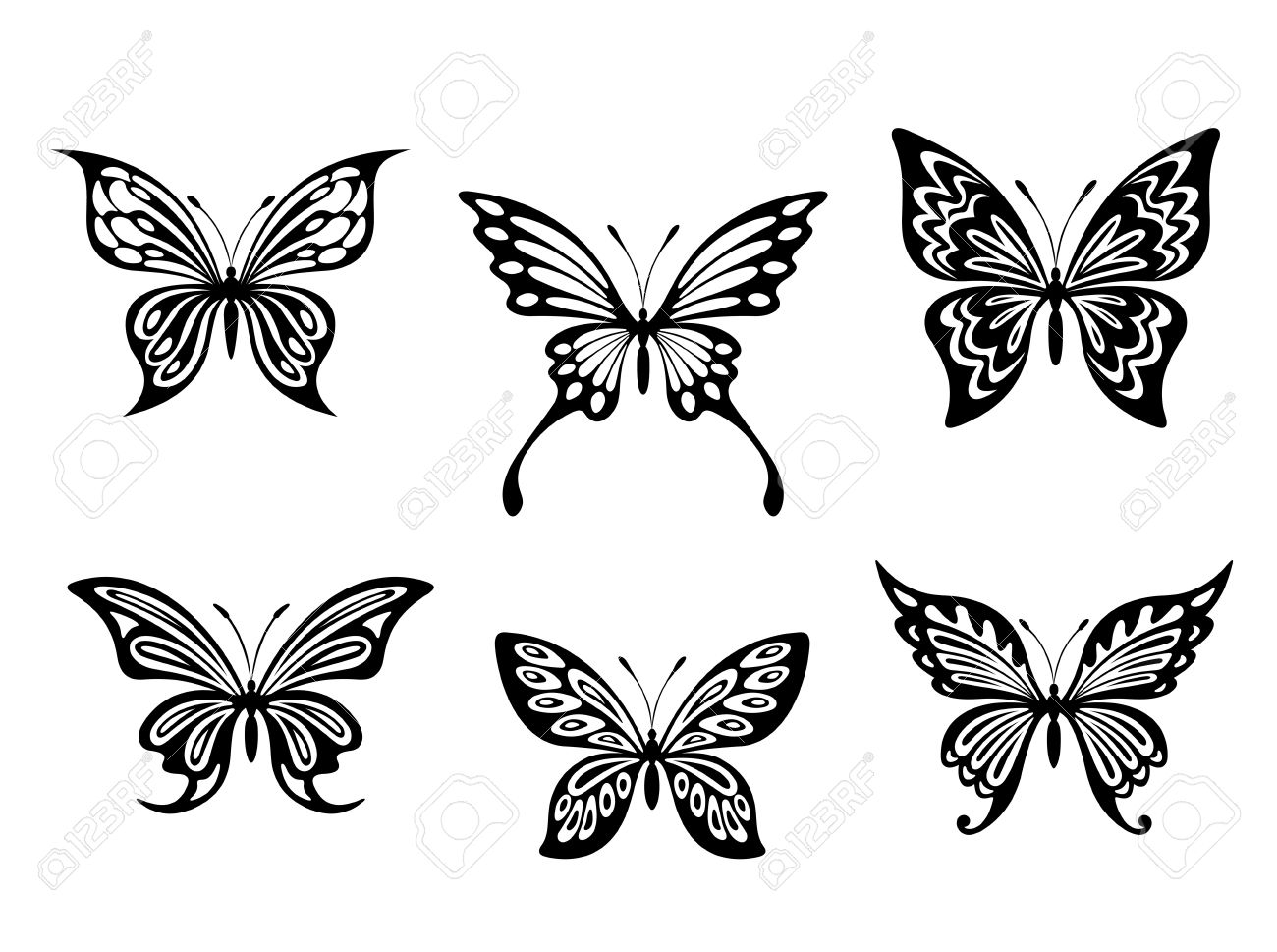 Black Butterfly Tattoos And Silhouettes Isolated On White Background pertaining to measurements 1300 X 969