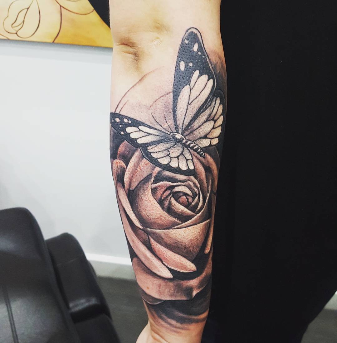 Black Grey Ink Large Rose Butterfly Tattoo On Arm with measurements 1080 X 1101