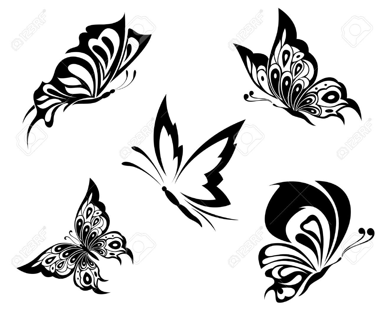 Black White Butterflies Of A Tattoo Royalty Free Cliparts Vectors in size 1300 X 1083