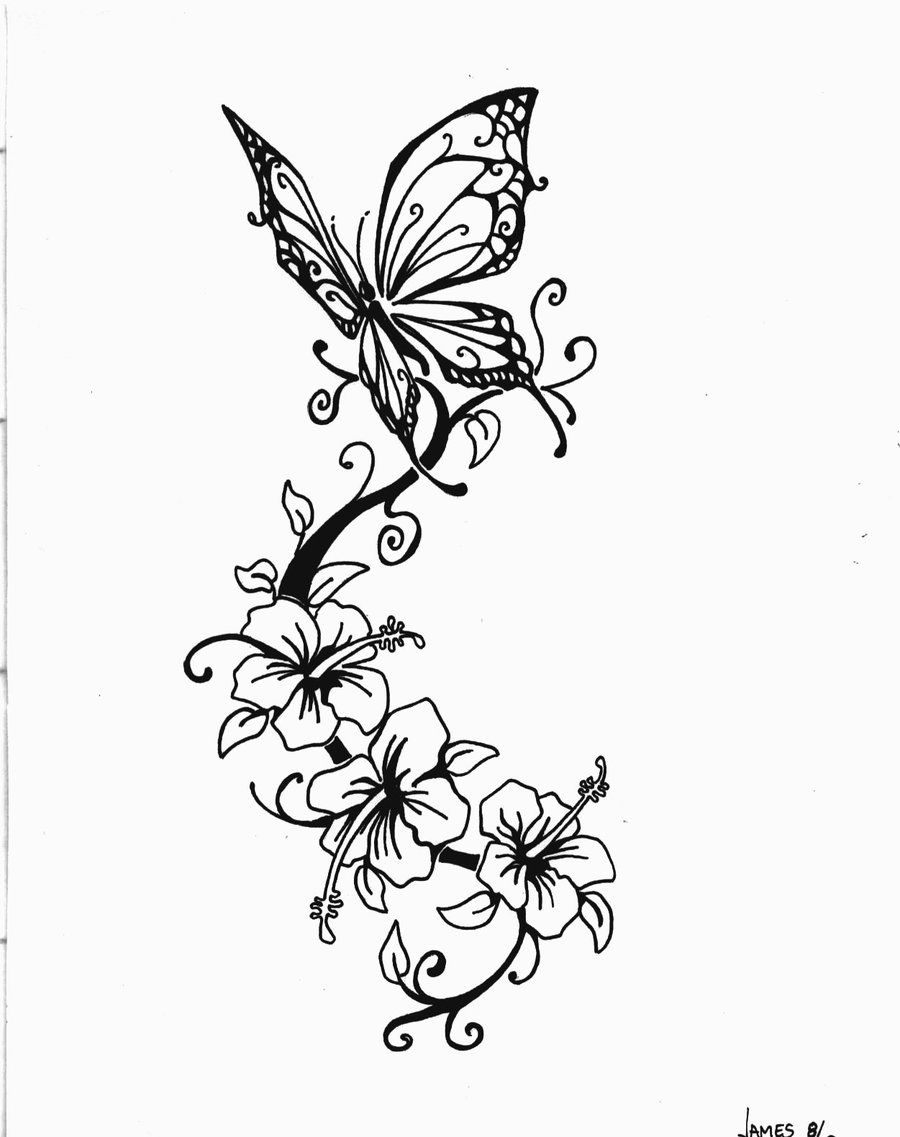 Butterfly And Flower Drawings Butterfly Tattoo Jimmy B Deviant intended for proportions 900 X 1137