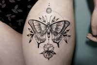 Butterfly And Flower Tattoo Inked On The Left Thigh Thigh intended for dimensions 1080 X 1080