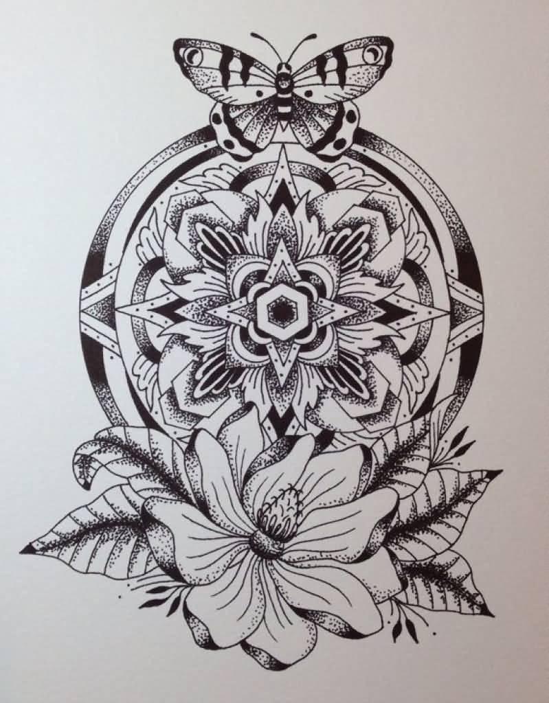 Butterfly And Mandala Flower Tattoo Design regarding measurements 799 X 1024