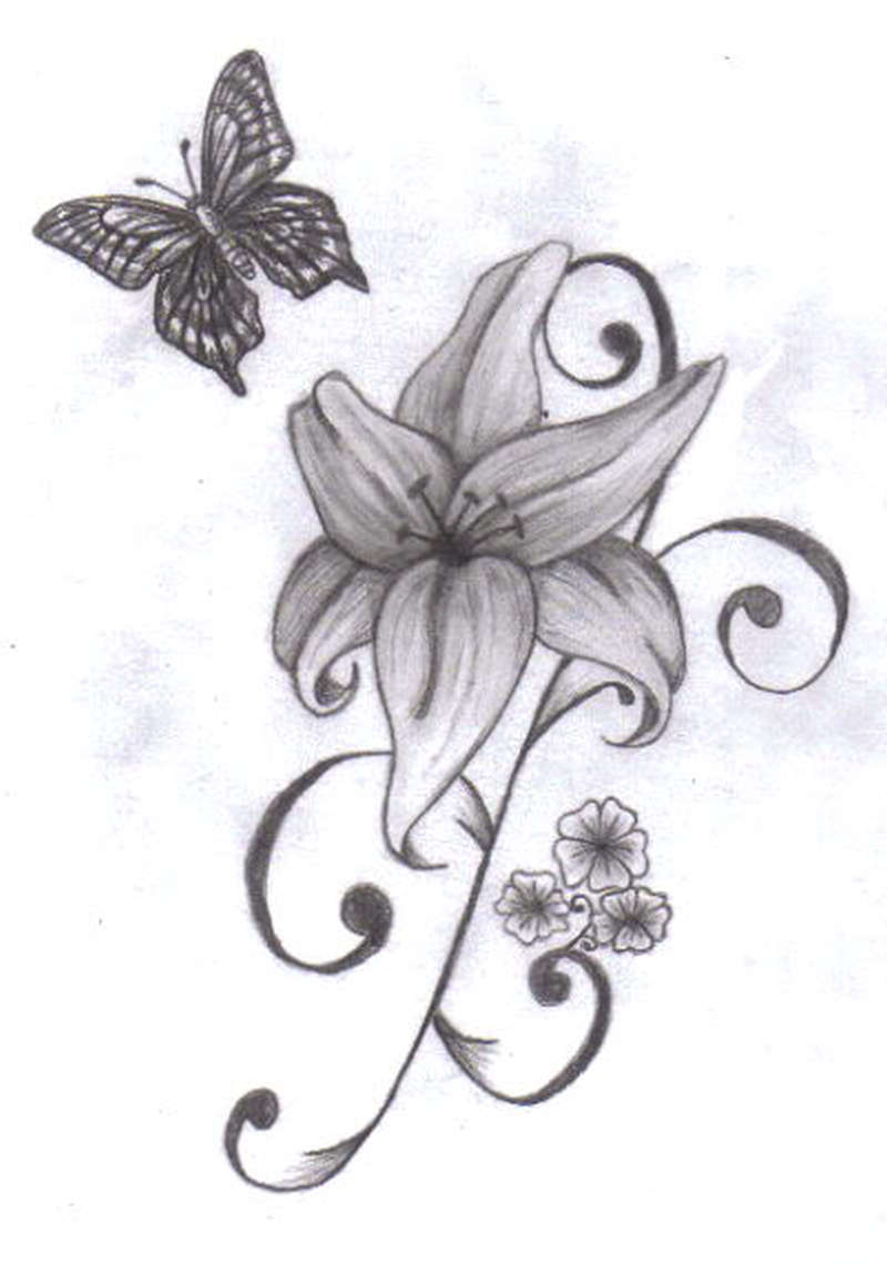 Butterfly Around Lily Tattoo Design Tattoos Book 65000 Tattoos regarding size 800 X 1141