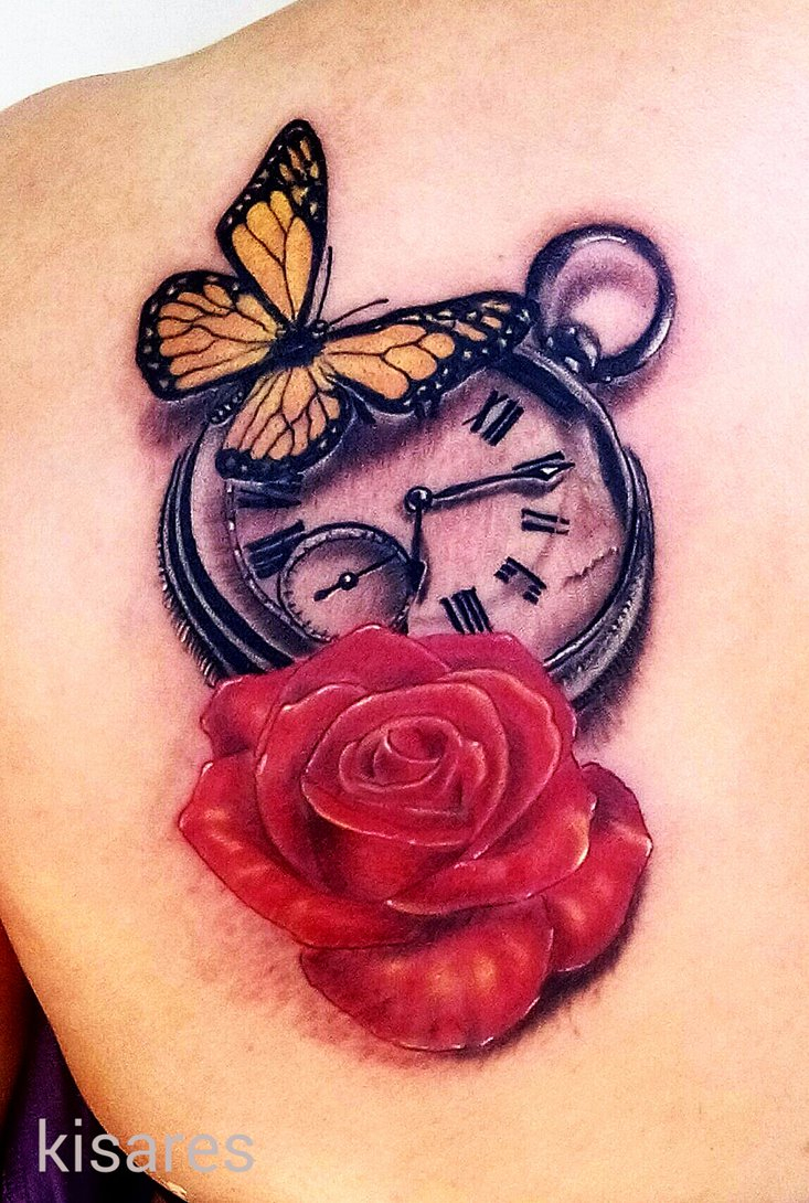 Butterfly Clock Rose Tattoo Kimestanil On Deviantart with regard to proportions 733 X 1090