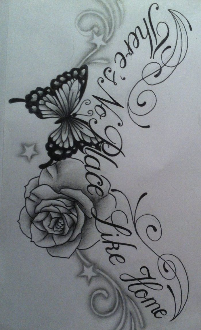 Butterfly Rose Chest Tattoo Design With Text Tattoosuzette On pertaining to measurements 699 X 1143