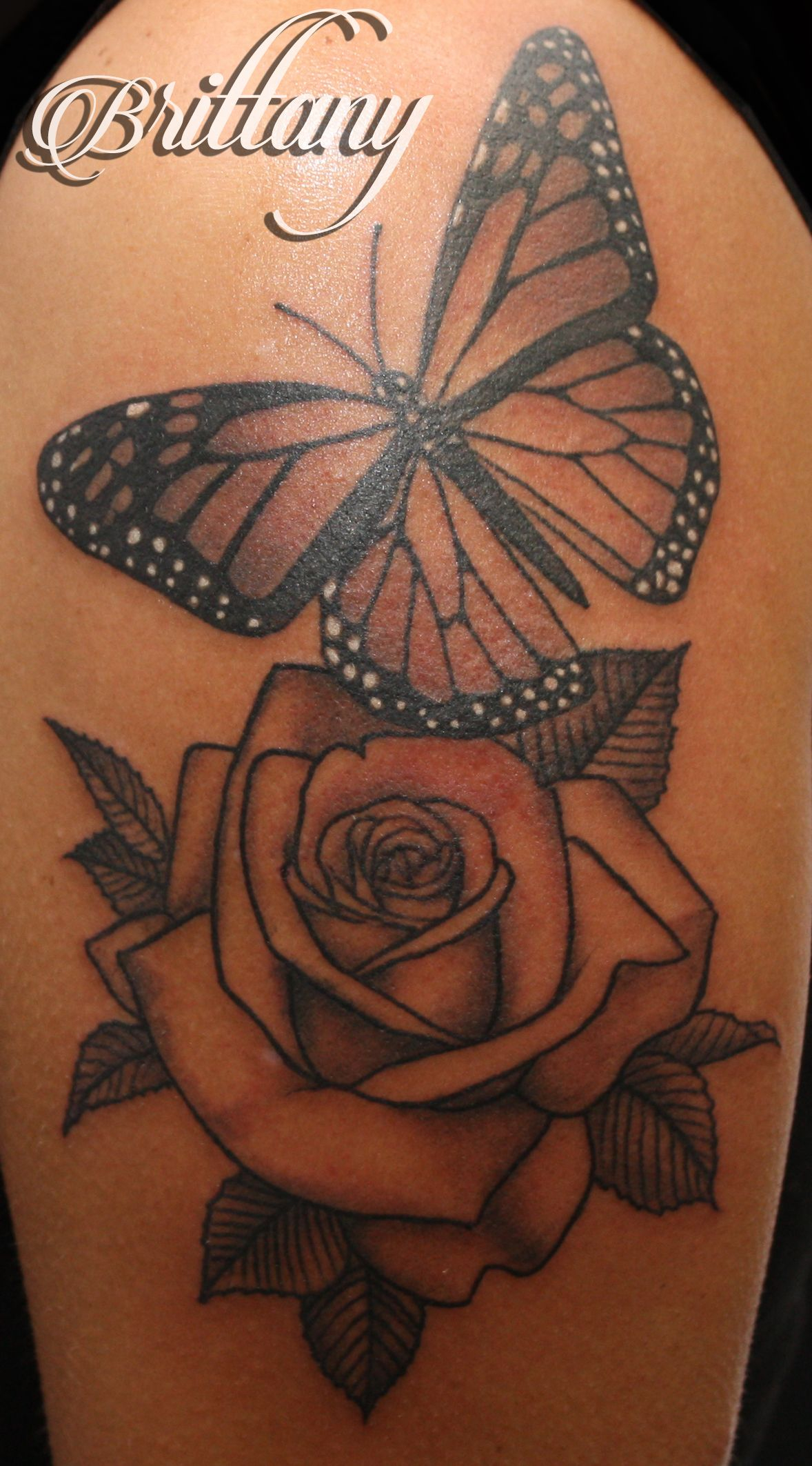 Butterfly Rose Tattoo Monarch Butterfly Black And Grey Skinny Boy inside measurements 1178 X 2125