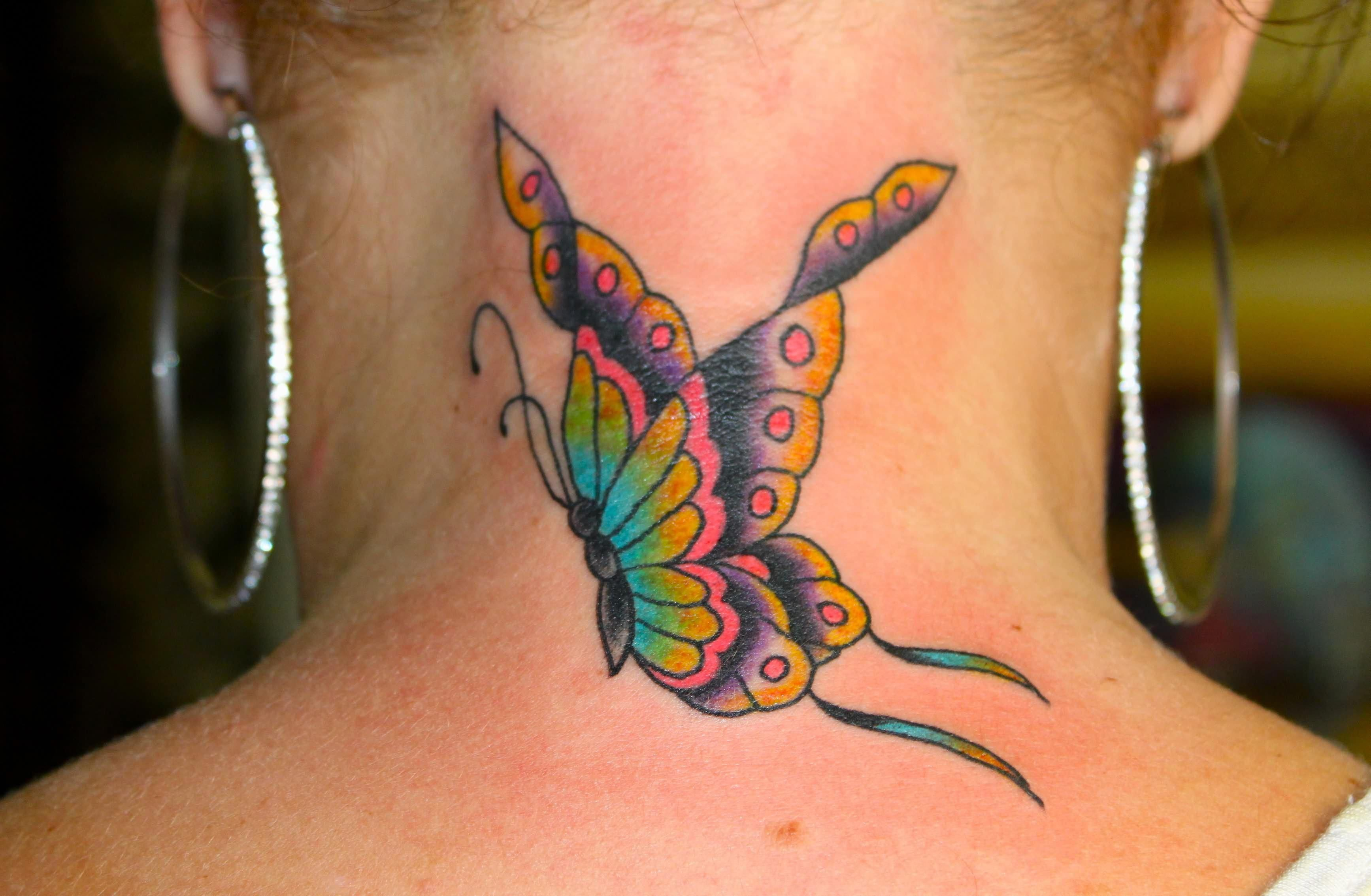 Butterfly Tattoo On Back Neck Traditional Style Tattoosonneck with measurements 3469 X 2267