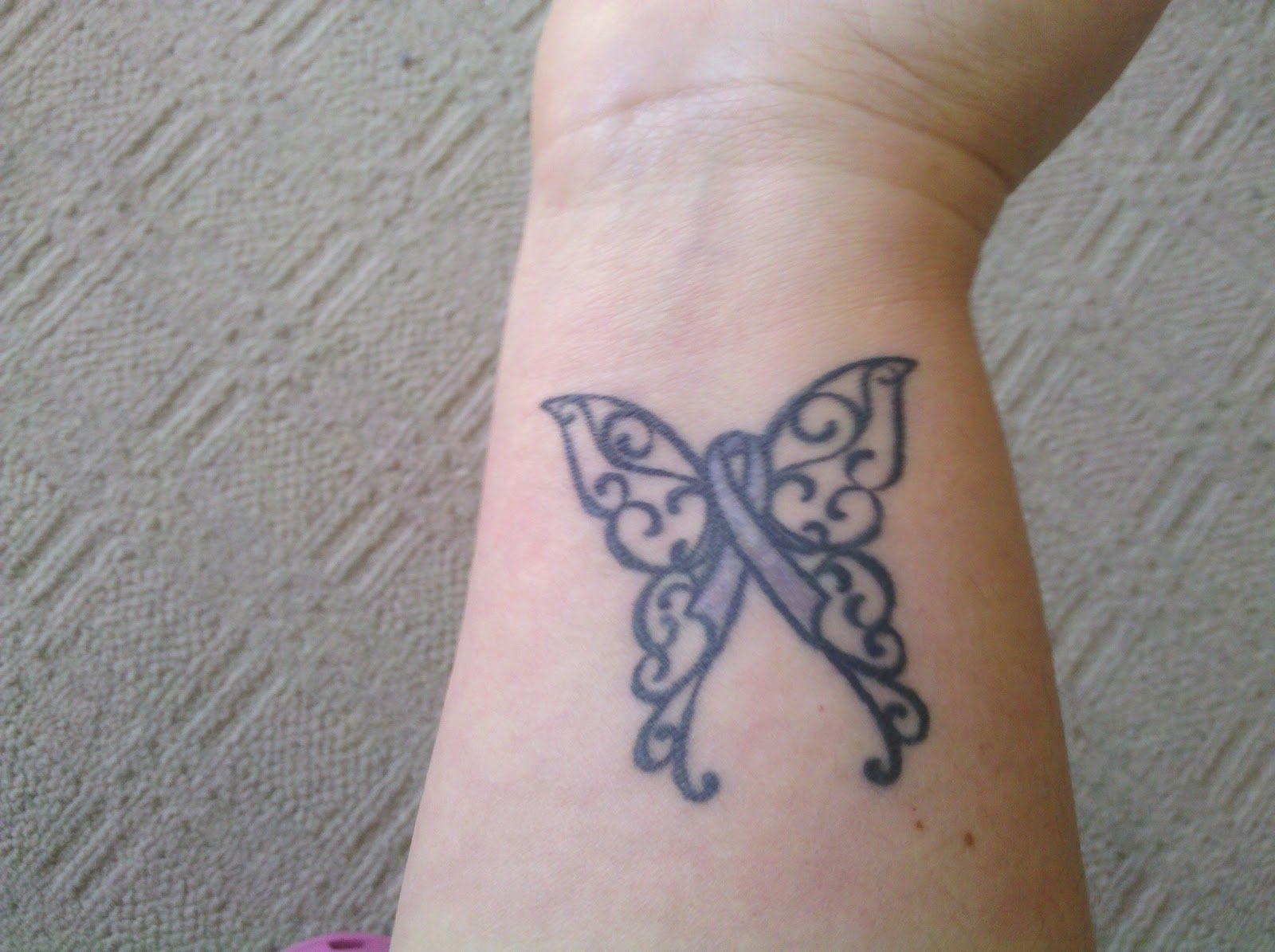 Butterfly Tattoos With Breast Cancer Ribbon Images Arm Tattoo Sites