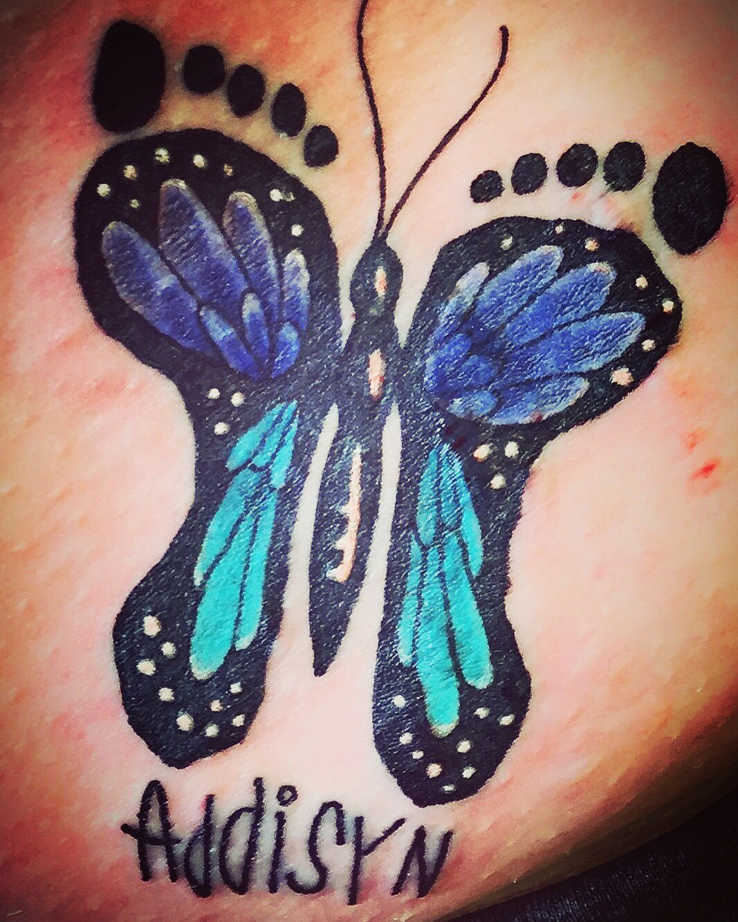 Butterfly Tattoo Using Daughters Signature And Footprints As Outline in dimensions 1067 X 1333