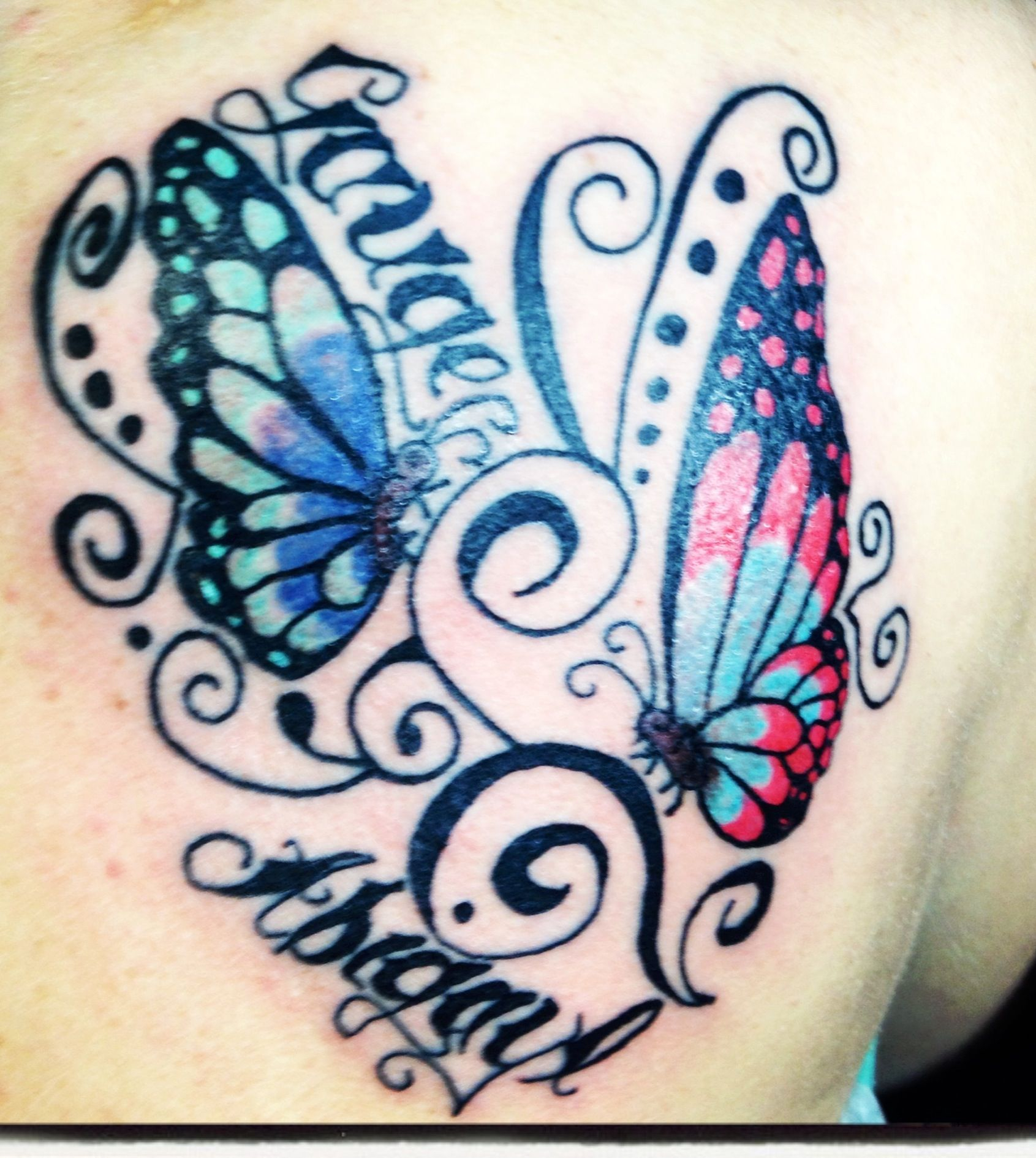 Butterfly Tattoo With Childrens Names Tattoo Tattoos With Kids within dimensions 1691 X 1890