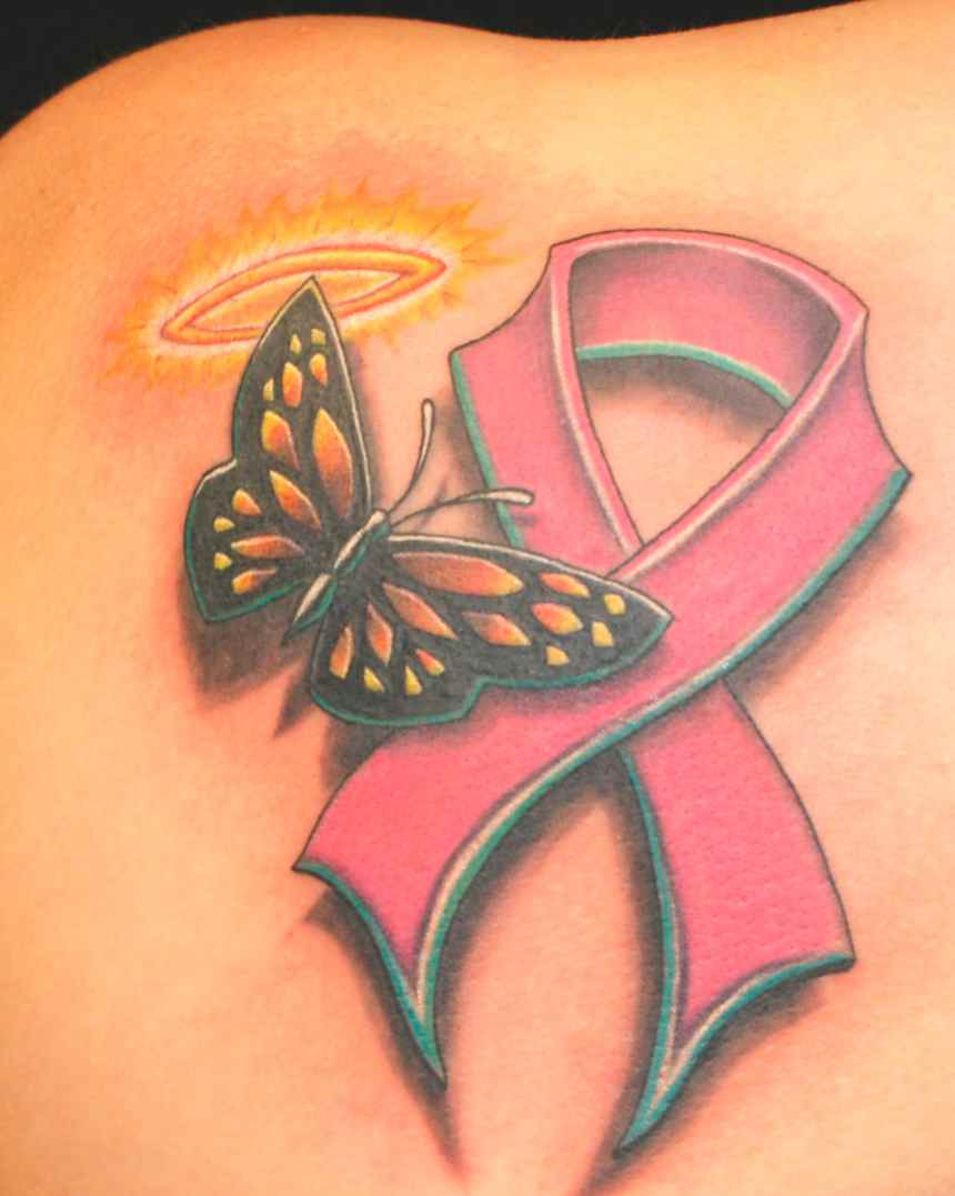 Breast Cancer Ribbon With Butterfly Wings Tattoo Arm Tattoo Sites