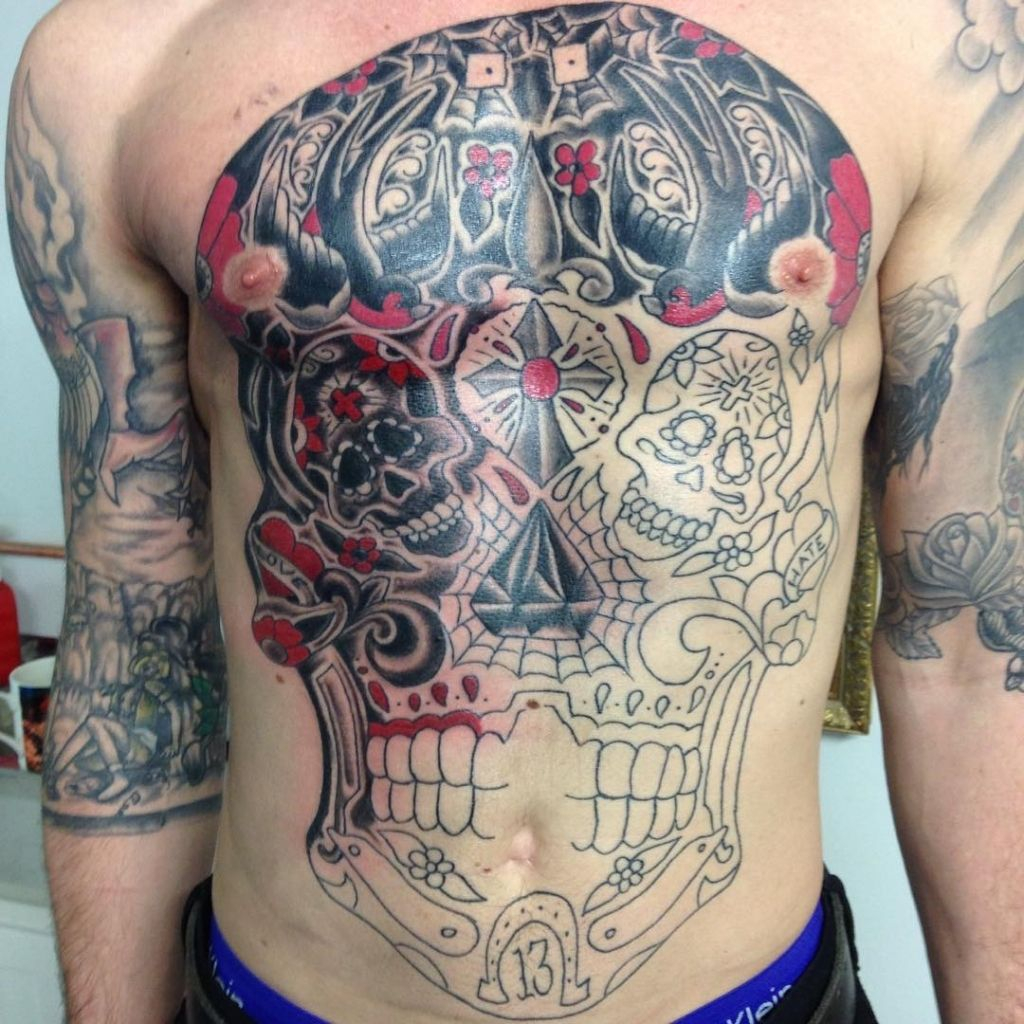 Chest And Stomach Tattoos Full Chest And Stomach Outline Tattoo within measurements 1024 X 1024